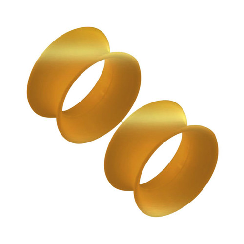 Thin Silicone Ear Plugs Tunnels Flexible Ear Earlets Gold metallic Flexible Expander Piercing Jewelry