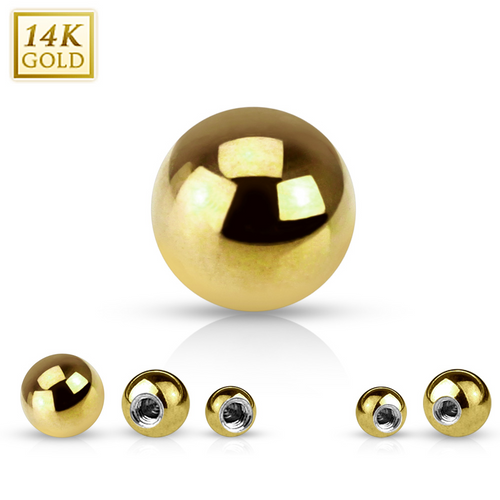 Yellow 14K Solid Gold 16ga Replacement Ball 3 mm -Sold Each