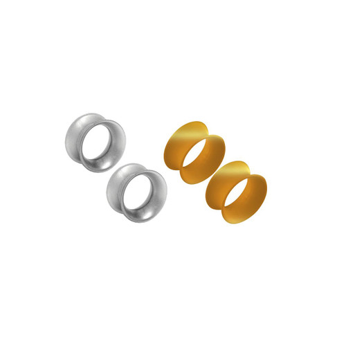 Thin Silicone Ear Plugs Tunnels Flexible Ear Earlets Silver and Gold metallic Flexible Expander Piercing Jewelry - Pack of 2 pairs