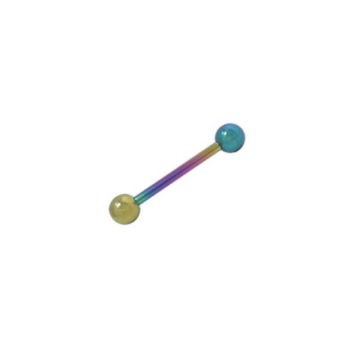 Multi Color Solid Titanium, 14 gaugeTongue Ring Barbell