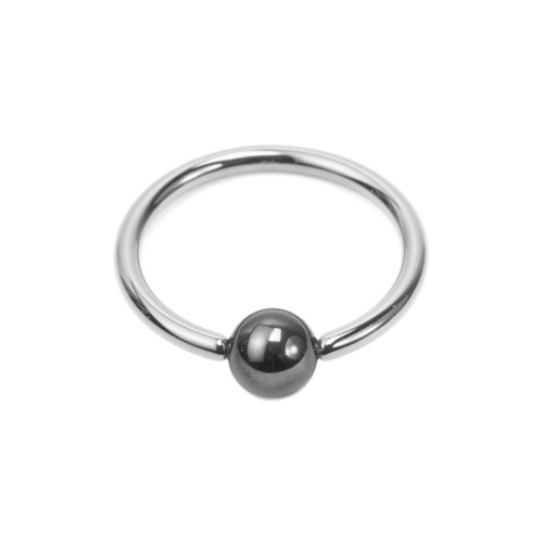 16ga Solid Titanium Captive Bead Ring with Hematite Bead - Lip, Cartilage, Ear