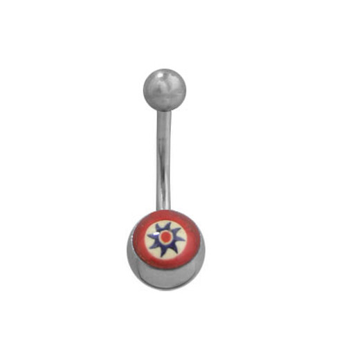 High Polish Titanium 14g Belly Button Ring with Flower Logo Design