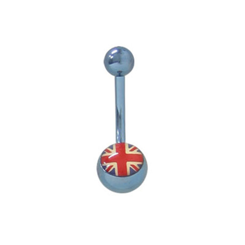 Solid Titanium 14gauge Belly Button Ring with England Flag