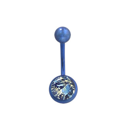 14 gauge Blue Titanium Belly Ring  with Magma Rock