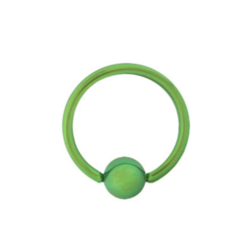14g, 16g, or 18g Solid Green Titanium Captive Bead Ball Closure Ring