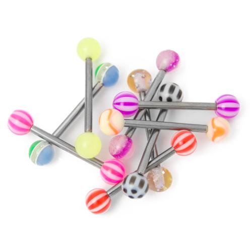 Titanium Barbell 14ga Nipple Piercing Mix w/Acrylic Balls- 10 Pack