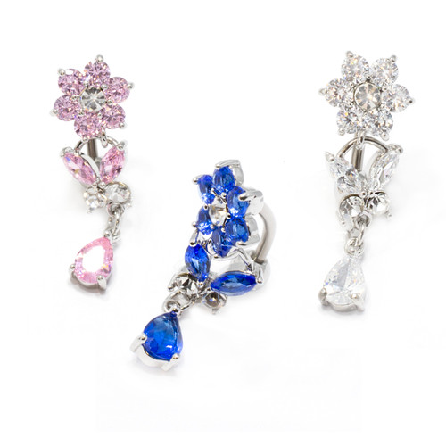 14 gauge Titanium Dangle Flower Butterfly Belly Ring with Cz Gems