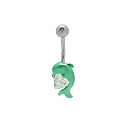 Anodized Titanium Dolphin with Heart 14 gauge Belly Button Ring