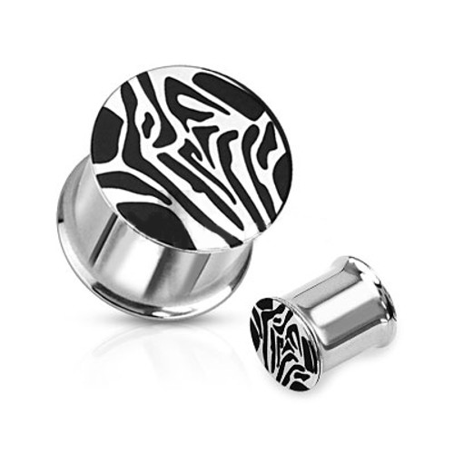 Pair of Tiger Striped Saddle Ear Plugs 316L Surgical Steel - (8mm to 16mm)