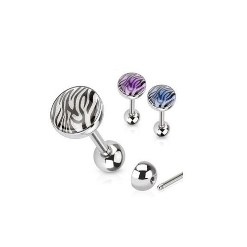 Surgical Steel Tongue Ring  with Solar Activated Tiger Print Dome Top