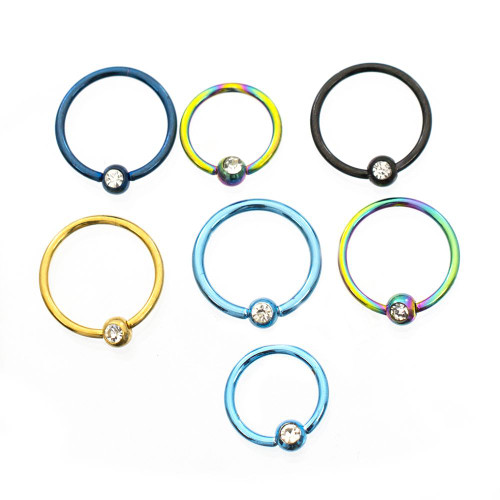 Pack of 7 Anodized Captive Bead Rings with CZ Randomly Picked 20ga Surgical Steel