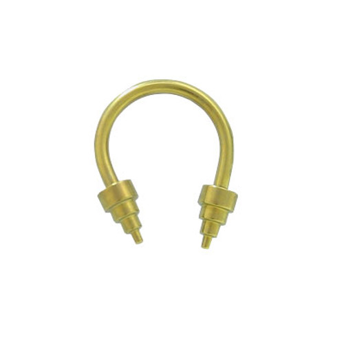 Yellow Solid Titanium 14 gauge Horse Shoe Barbell with Cone Heads