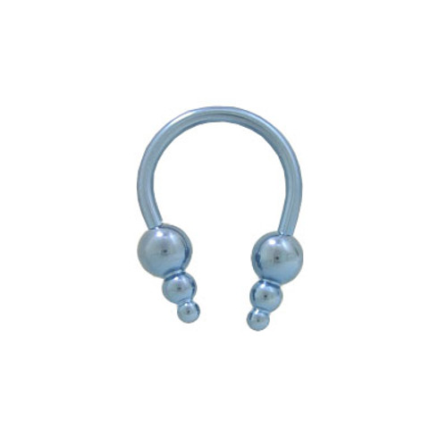 Light Blue Solid Titanium 14 gauge Horse Shoe Ring Round Cone Heads