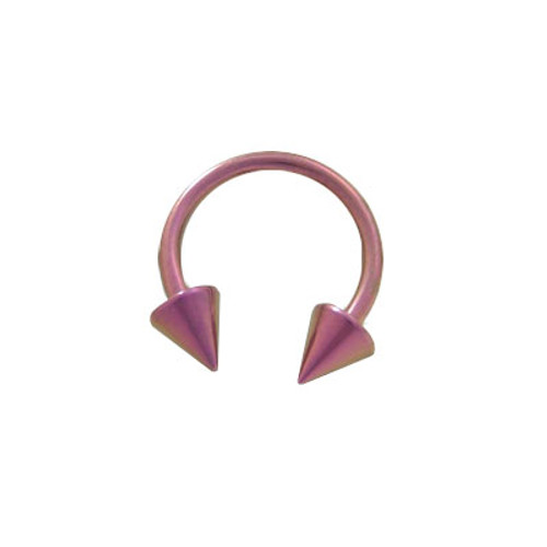 14 gauge Pink Solid Titanium Horse Shoe Ring Spike Heads