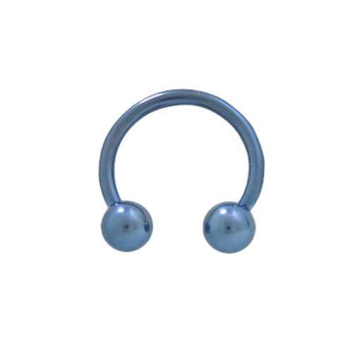 Light Blue 14 gauge Solid Titanium Horseshoe Barbell with Ball Beads