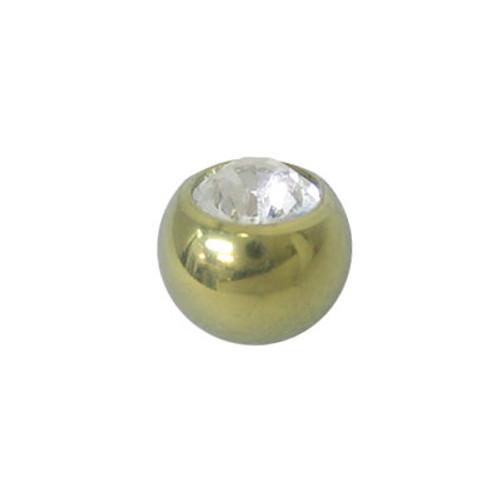 Gold Titanium Jeweled Threaded Replacement Bead