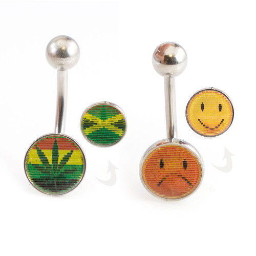Pair of Lenticular Belly Button Rings Emoji Happy - Angry and Pot leaf - Jamaican Flag 14ga 3/8- 10mm