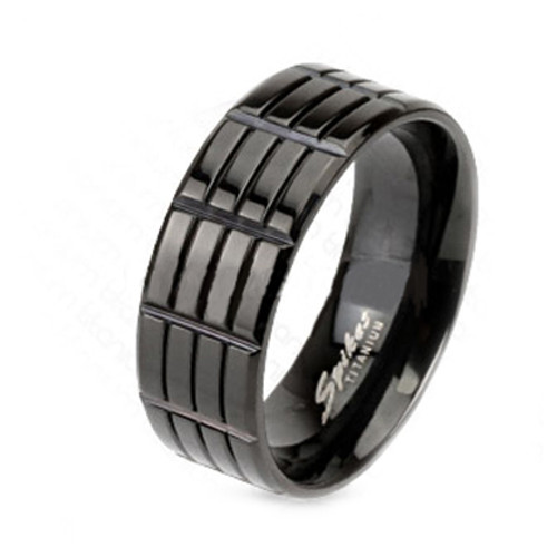 Solid titanium Grooved Finger ring