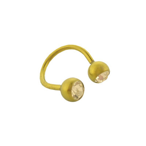 Gold Solid Titanium, 14 gauge Twister ring with Jewel