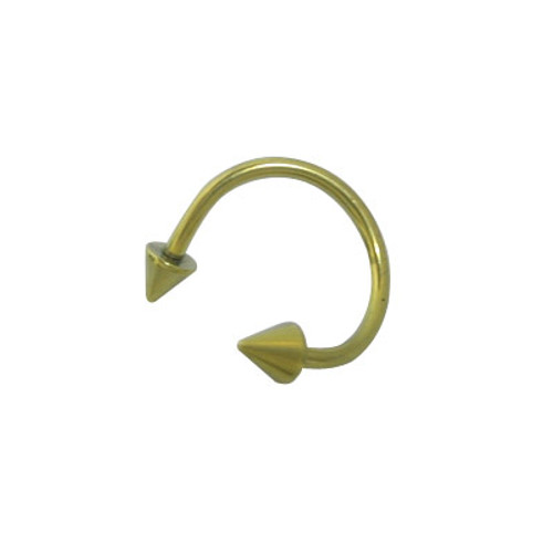 Solid Titanium Twister Ring with Spike Beads (16 Gauge)