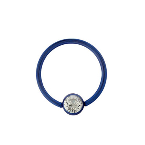 Dark Blue Anodized Titanium Ball Closure Hoop (14g, 16g, or 18g)