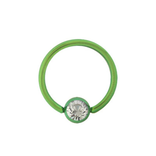 14g, 16, or 18g Captive Green Solid Titanium Ball Hoop with Jewel