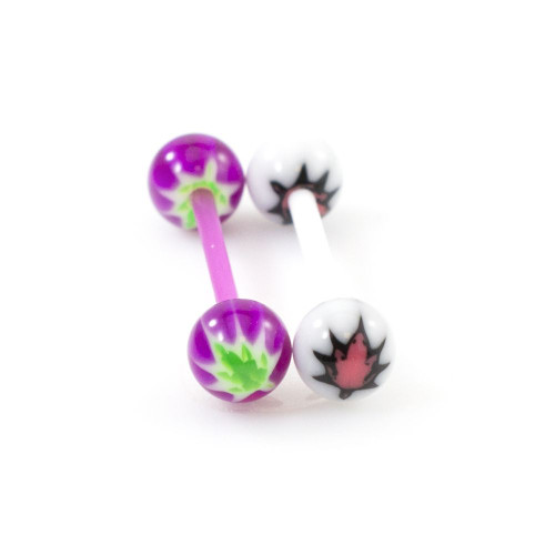 Pair of Tongue Barbells with Pot Leaf Design 14G
