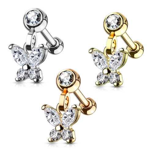 Cartilage/ Tragus 16G Barbell with CZ Paved Crescent Butterfly Dangle