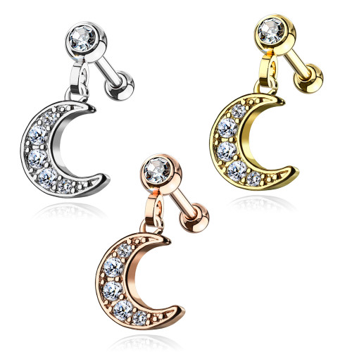 Cartilage/ Tragus 16G Barbell with CZ Paved Crescent Moon Dangle