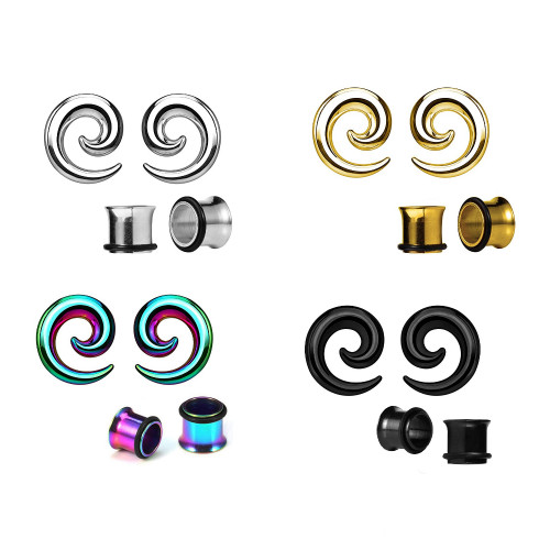 Pair of Steel Spiral Ear Tapers Seamless (12GA-0GA) with Ear Plugs 4 Color Options