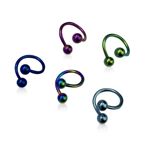 Anodized Titanium Belly, Lip, Nipple, Ear Twister Rings 14 Gauge - 5pc