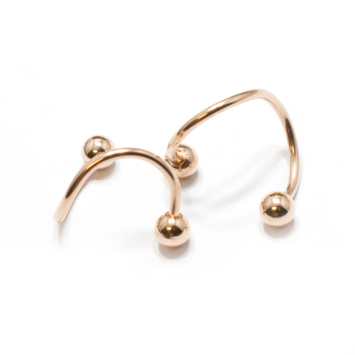 Pair of Rose Gold IP Twister Ring 16G