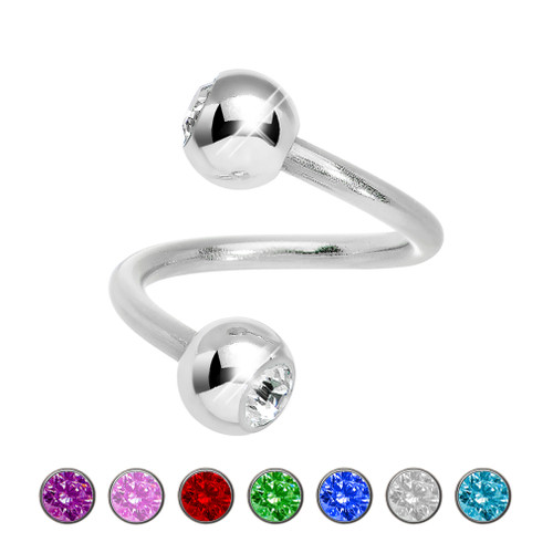 14ga Twister Ring with Press-Fit Gems 316L Surgical Steel