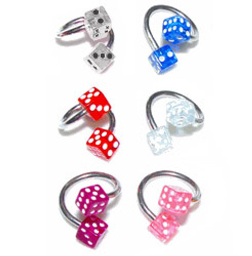 Twister Ring Surgical Steel with Acrylic Dice Replacement Beads