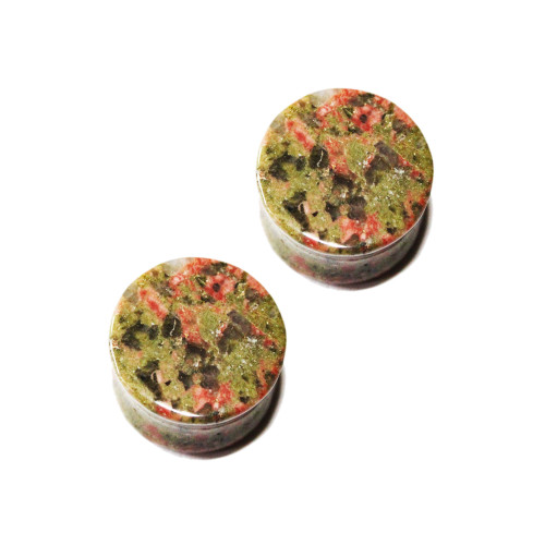 Unakite Stone Semi-Precious Saddle-Fit Plugs (8 gauge to 1 in)  Sold in Pairs
