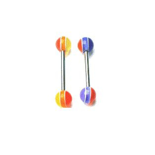 Body jewelry, 316L surgical steel with UV acrylic Replacement Beads, Barbell Tongue ring
