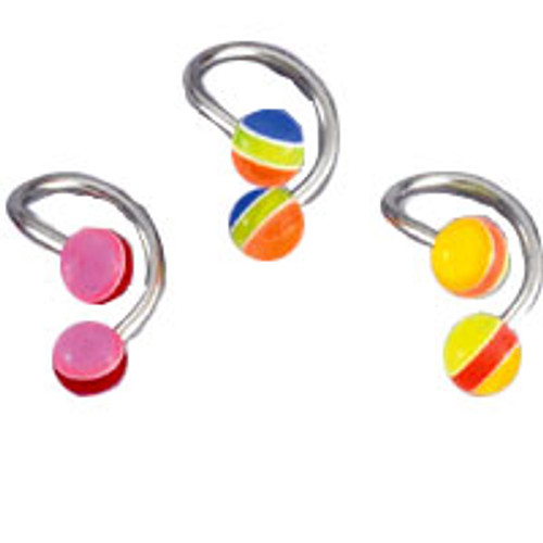 Body jewelry, 316L surgical steel with UV acrylic beads, Twister ring