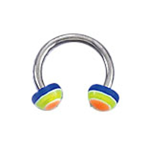 Body jewelry, 316L surgical steel with UV acrylic Half-bead design, Horse shoe ring