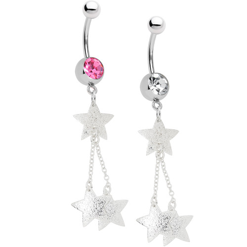 Belly Button Ring - 14ga Star Dangle 316L Surgical Steel - Large CZ Gem - Out of Stock
