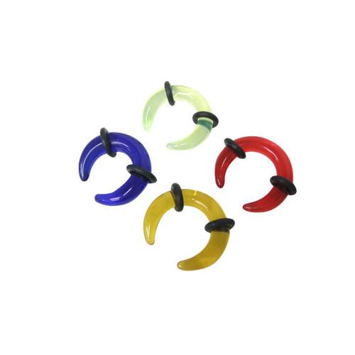 UV Acrylic Ear plug Curved Spike Design - 8 Gauge