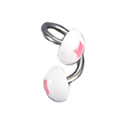 Body jewelry, 316L surgical steel with UV acrylic Replacement Beads in Half-bead design, Twister ring