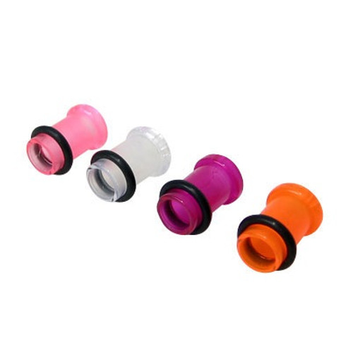 Pair of UV Acrylic Ear Plug Tunnel Design  0 Gauge