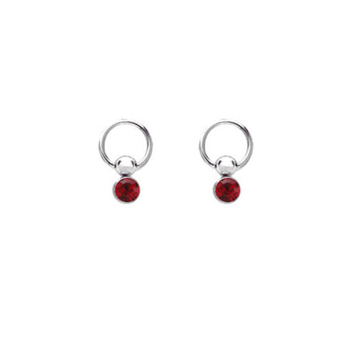 Pair of Nipple Ring 14ga Captive Hoop with Jeweled Drop Bead