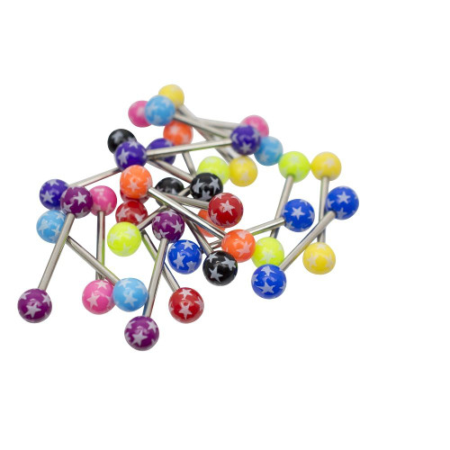 Pack of 20 Acrylic Star Design Tongue Barbells Assorted Colors 14ga