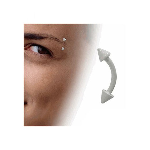 White Enamel Coated Over Surgical Steel Curved Eyebrow Ring Spike Beads