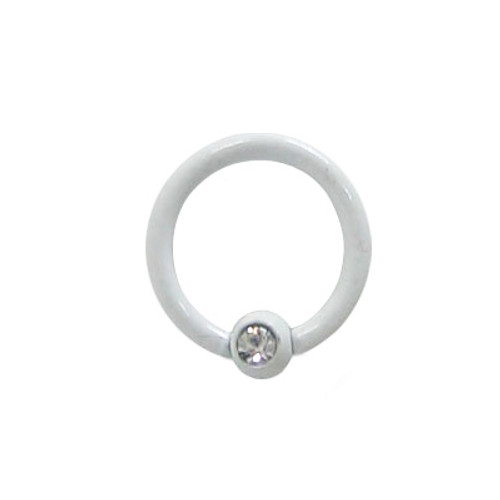 White Electro Plated Over Surgical Steel Captive Bead Ring with Jewel