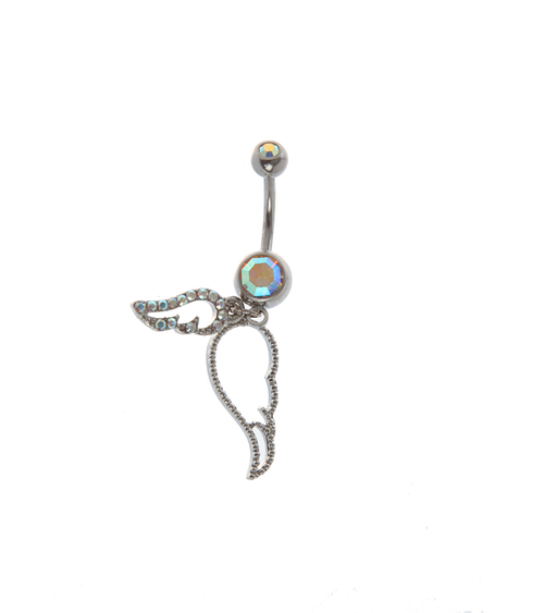 """Dangle Wing Design With Jewels Naval Ring 14G 7/16"""""""
