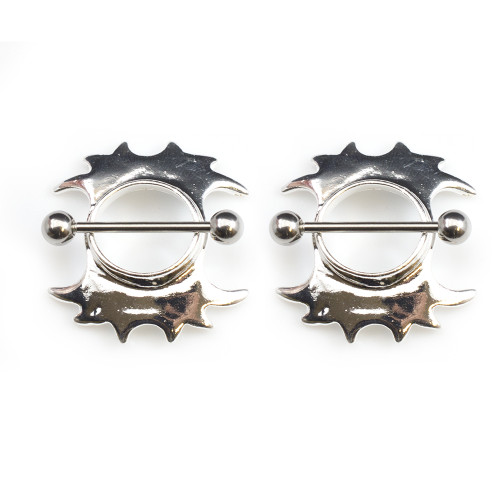 Pair of Tribal Design Nipple Shield 14G Made of Surgical Steel