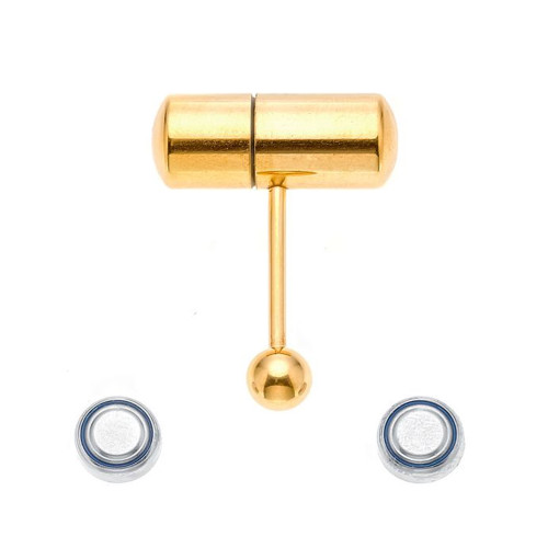 Ion-Plated Gold 14ga Vibrating Tongue Ring