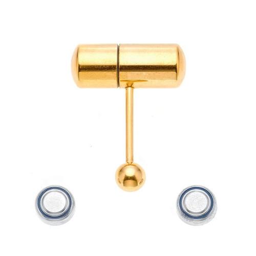 Ion-Plated Gold 14ga Vibrating Tongue Ring
